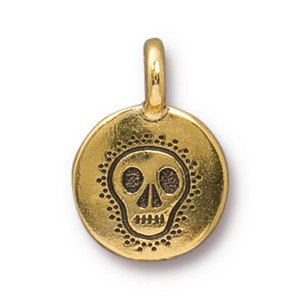 TierraCast Skull Charm, Antique Gold