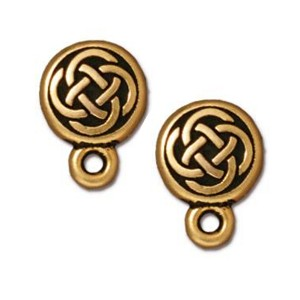 TierraCast Small Celtic Circle Earring Post, Antiqued Gold