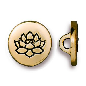 TierraCast Small Lotus Button, Antiqued Gold