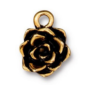 TierraCast Succulent Flower Charm, Antique Gold