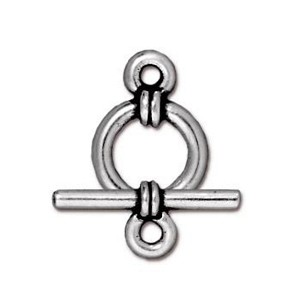 TierraCast Wrapped Toggle Clasp, Antique Silver