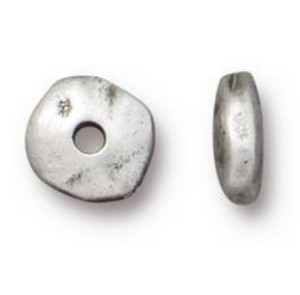 TierraCast 7mm Heishi Nugget Spacer Bead,1.25mm Hole, Antiqued Pewter