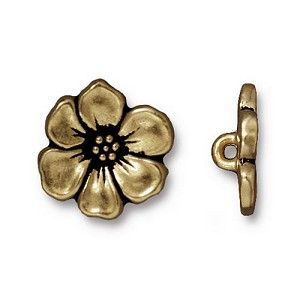 TierraCast Apple Blossom Button, Brass Ox