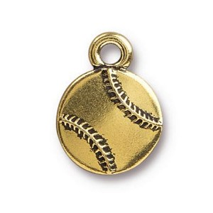 TierraCast Baseball Charm, Antique Gold