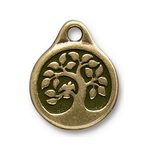 TierraCast Bird in a Tree Drop, Double-Sided Brass Ox