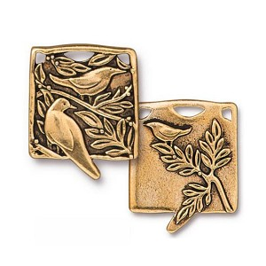 TierraCast Botanical Birds Pendant, Antiqued Gold