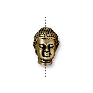 TierraCast Buddha Large Hole Bead, Antique Gold