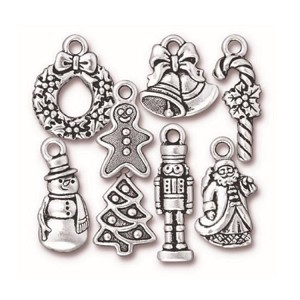 TierraCast Christmas Charms, Antique Silver