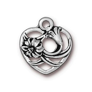 TierraCast Floral Heart Charm, Antique Silver