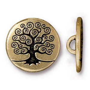 TierraCast Tree of Life Button, Antique Gold