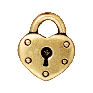 TierraCast Heart Lock Drop, Antique Gold