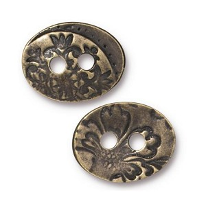 TierraCast Jardin 2-Hole Button, Brass Ox