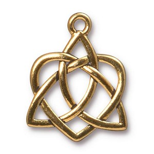 TierraCast Large Celtic Open Heart Drop, Antique Gold