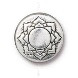 TierraCast Lotus Puffed Bead, Antique Silver