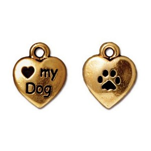 TierraCast Love My Dog Charm, Antique Gold