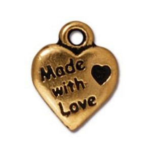 TierraCast Made With Love Heart Charm, Antique Gold
