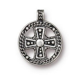 TierraCast Opulence Cross Pendant, Antique Silver