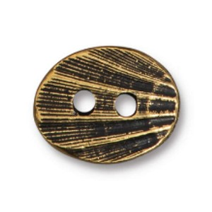 TierraCast Oval Shell Button, Antique Gold