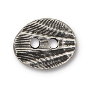 TierraCast Oval Shell Button, Antique Silver