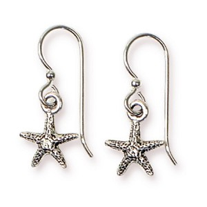 TierraCast Sea Star Earrings, Antiqued Silver