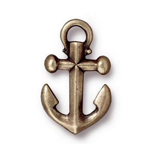 TierraCast Anchor Charm, Brass Ox