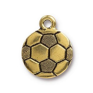 TierraCast Soccer Ball Charm, Antique Gold
