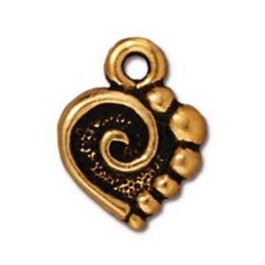 TierraCast Spiral Heart Charm, Antique Gold