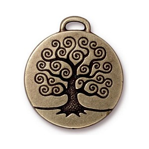 TierraCast Tree of Life Pendant, Double-Sided Brass Ox