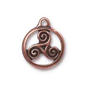TierraCast Small Triskele Drop, Antique Copper
