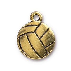 TierraCast Volleyball Charm, Antique Gold