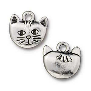 TierraCast Whiskers Charm, Antique Silver